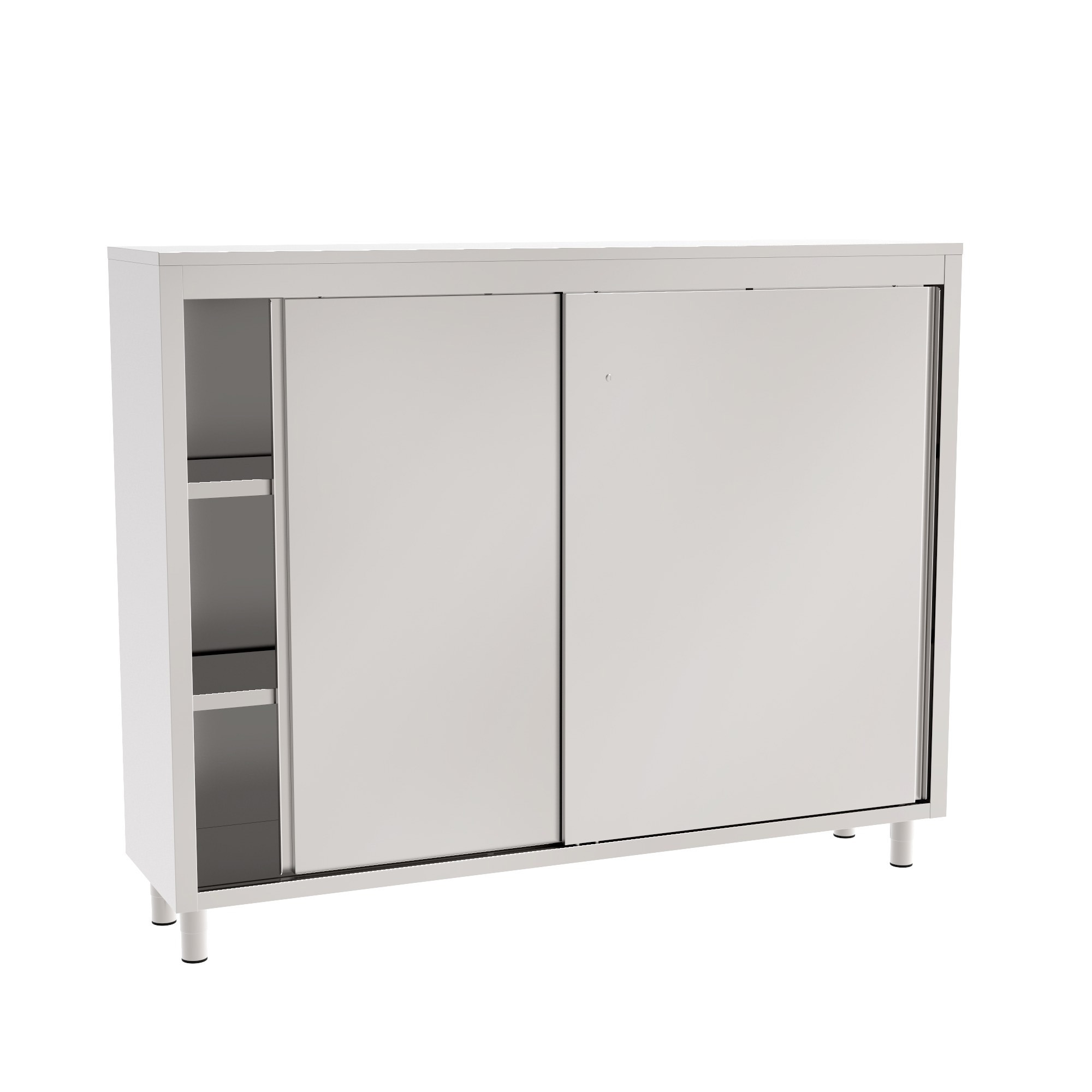 Storage Cabinet With Sliding Doors And Plain Shelves Cleanroom Components